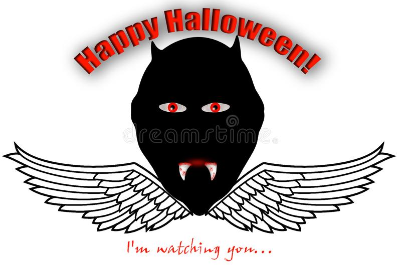 A creepy monster, with red eyes and big teeth, with the message `I`m watching you` and Happy Halloween vector illustration
