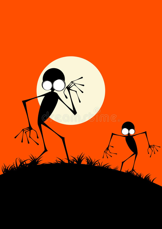 Creepy Monster Silhouettes vector illustration