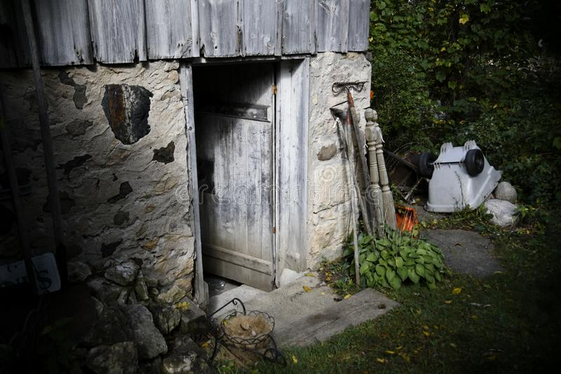 Creepy Old Barn Door Opening with Scary Wood and Frightening Entrance stock photography