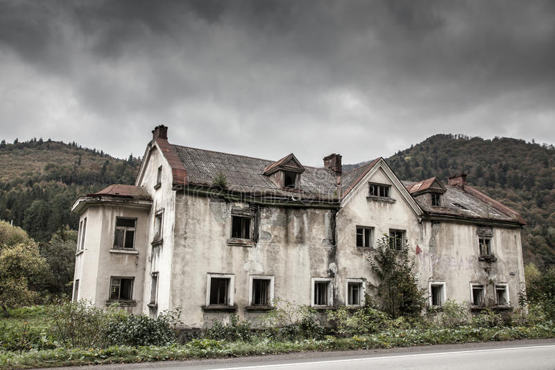Creepy old house. In the woods stock images