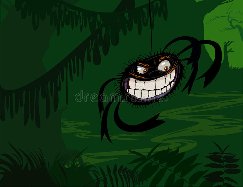 Creepy Spider in Dark Green Swamp royalty free stock photo