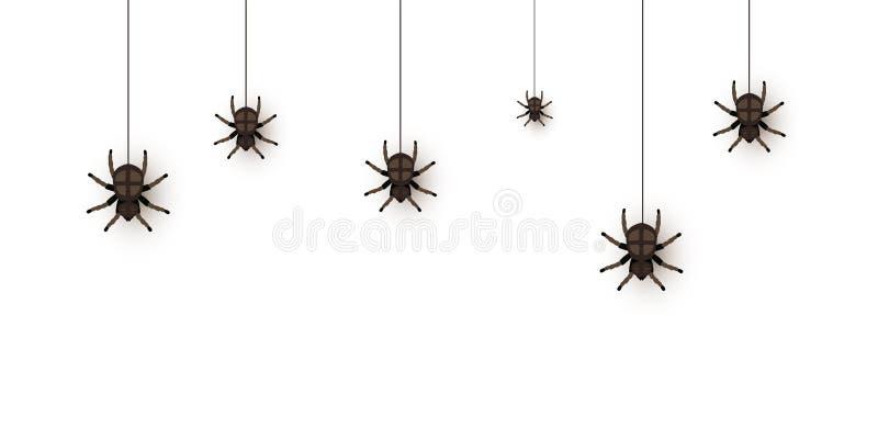 Creepy Spinnen auf Web-Flachvektor-Illustration lizenzfreie abbildung