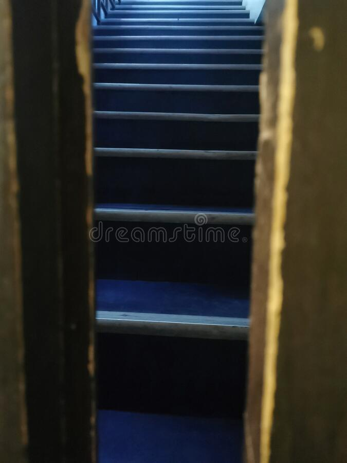 Creepy stairs at a cafe royalty free stock photos