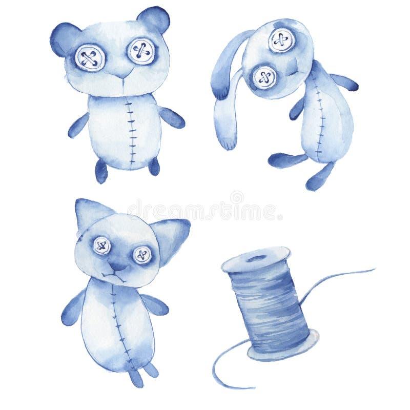 Creepy toys. Cute hande made watercolor animals stock illustration
