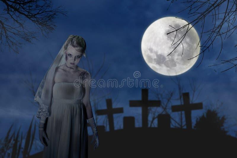 Creepy zombie bride stock images