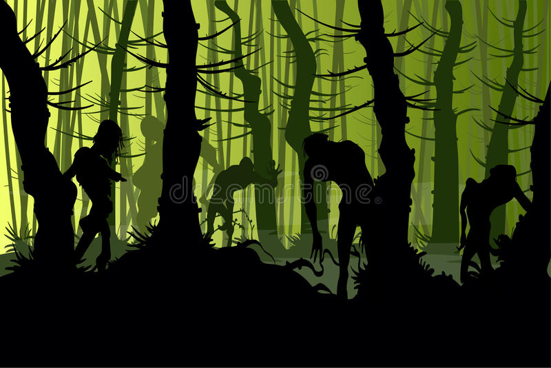 Creepy zombies in a forest royalty free stock photos