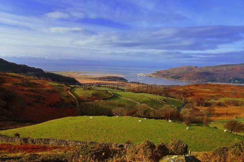 从Cregennen,威尔士的Barmouth海湾 免版税库存照片