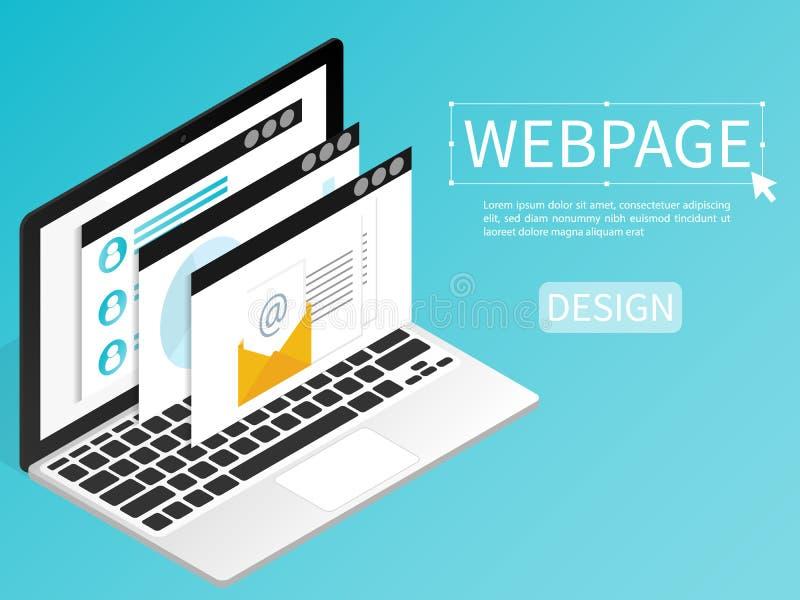Crei il vettore piano isometrico del computer di progettazione della pagina Web del sito Web illustrazione vettoriale