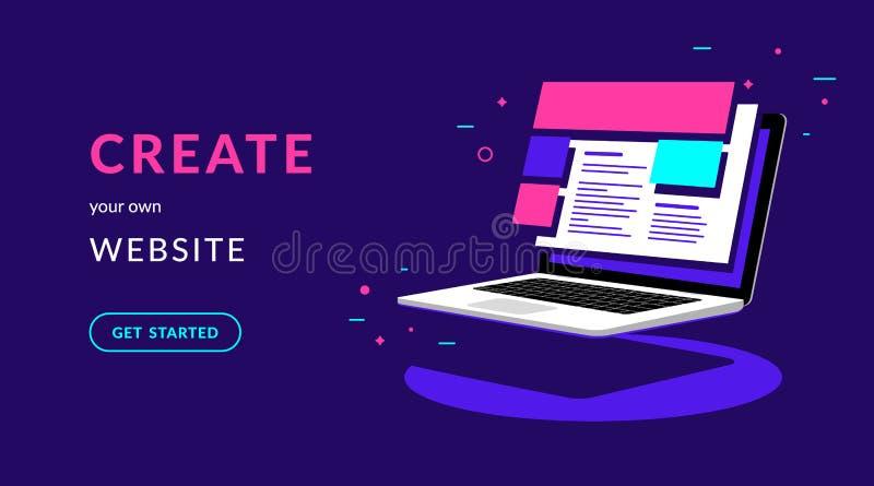 Crei la vostra propria illustrazione al neon di vettore piano del sito Web per l'insegna di web con testo illustrazione vettoriale