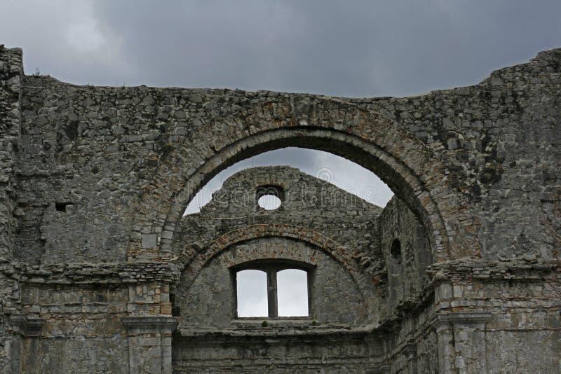 Crekvina church ruins. Scenic view of old ruins of Crekvina church in Kastov town, Croatia royalty free stock photography