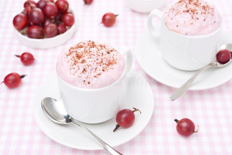Crema batida deliciosa con crema y grosellas espinosas azotadas fotografía de archivo libre de regalías