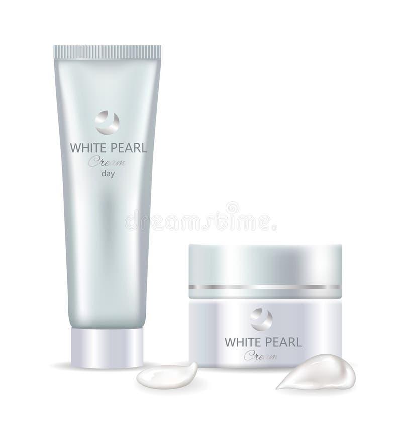 Crema bianca di giorno della perla nel grande insieme del barattolo e della metropolitana royalty illustrazione gratis