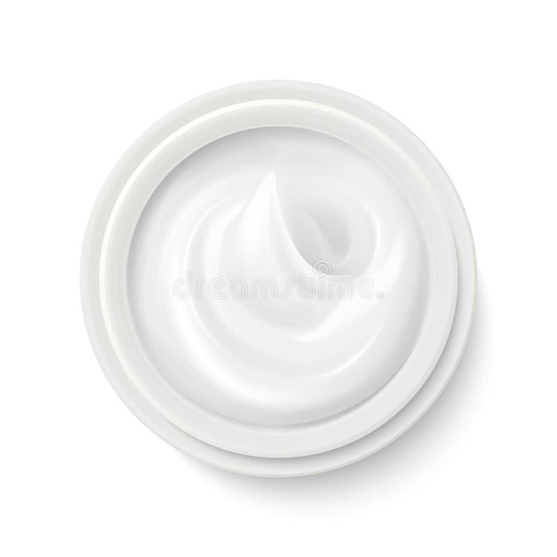 Crema bianca nell'illustrazione di vettore di vista superiore del contenitore del pacchetto illustrazione di stock