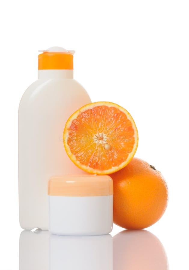 Crema con la naranja fotografía de archivo libre de regalías