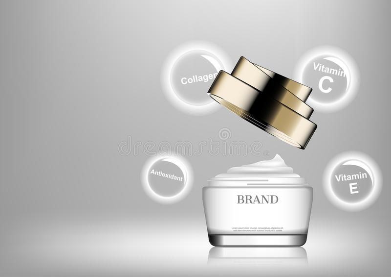 Crema cosmética abierta con los iconos del ingrediente stock de ilustración