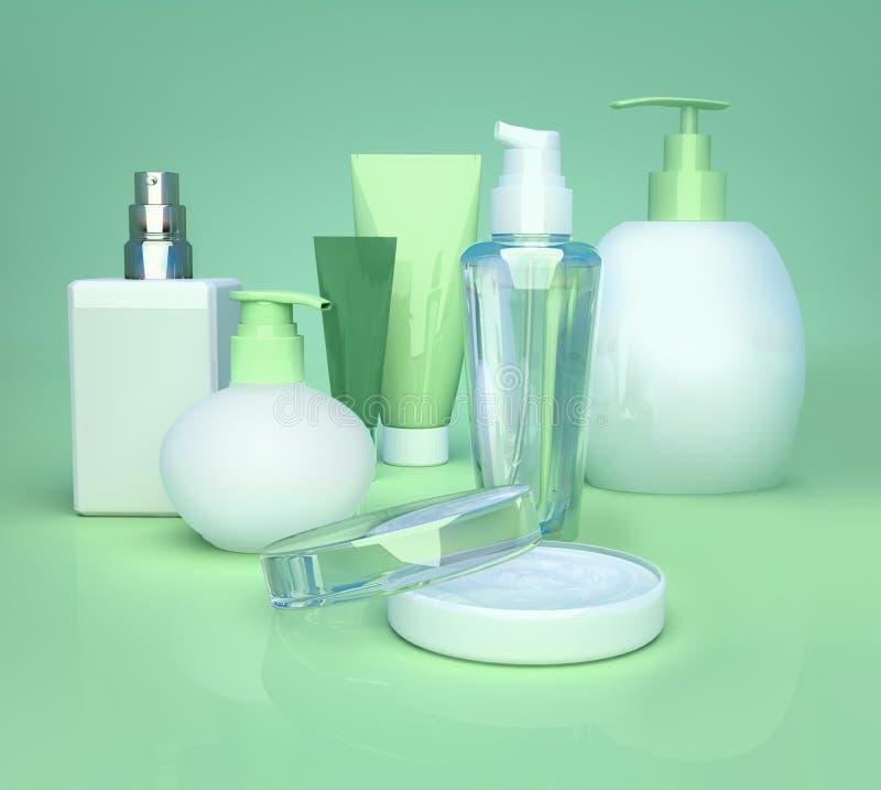 Crema cosm?tica, cuidado de piel y perfume en fondo verde primer fotografía de archivo