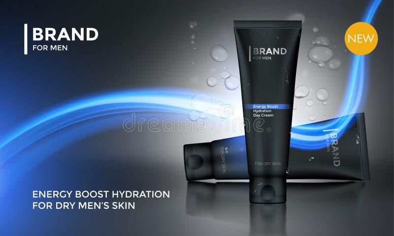 Crema cosmética del cuidado de piel de los hombres de la plantilla del vector de la publicidad del paquete stock de ilustración