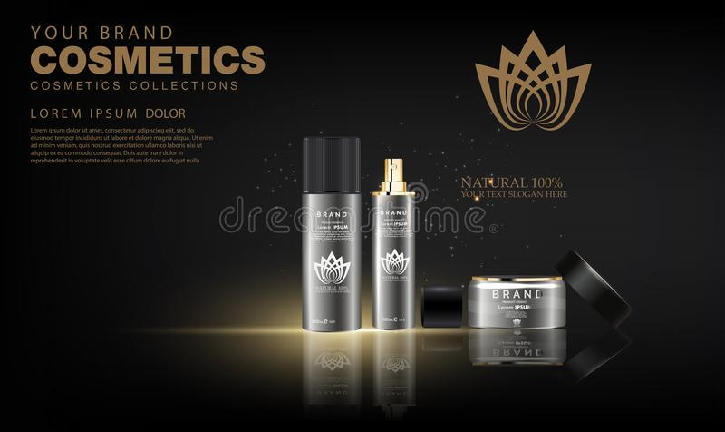 Crema cosmetica di lusso di cura di pelle del pacchetto della bottiglia, manifesto cosmetico del prodotto di bellezza illustrazione vettoriale