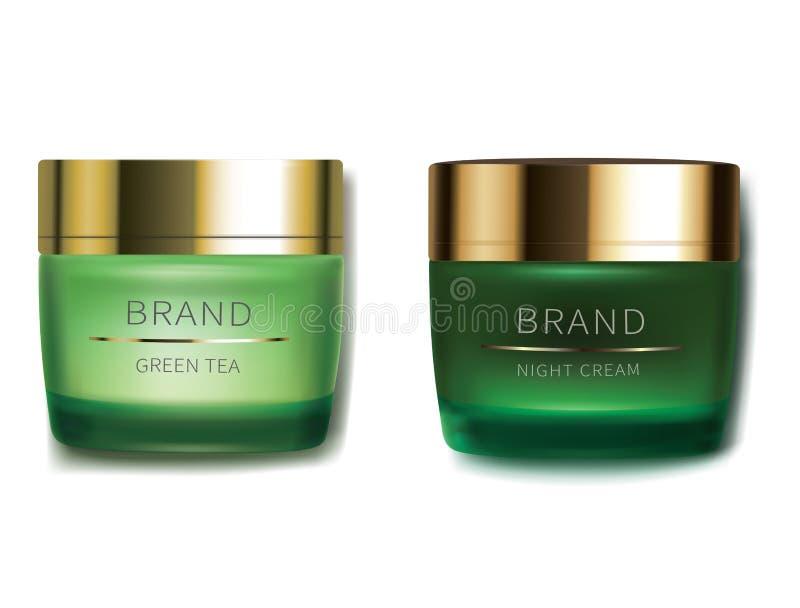 Crema cosmetica di notte e di giorno illustrazione di stock