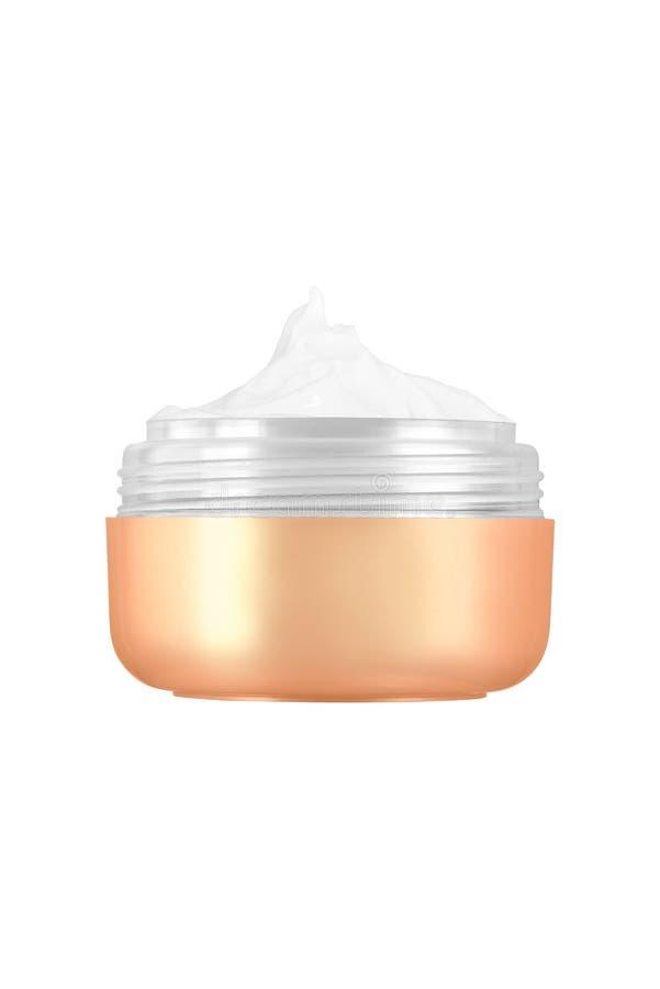 Crema cosmetica facciale in barattolo aperto lucido dorato dello spazio in bianco, prodotto di bellezza isolato su fondo bianco fotografia stock
