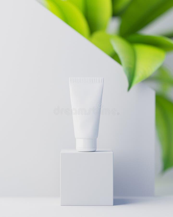 Crema cosmetica naturale, siero, bottiglia in bianco dello skincare che imballa con le foglie erba, legno Bio- prodotto biologico immagini stock