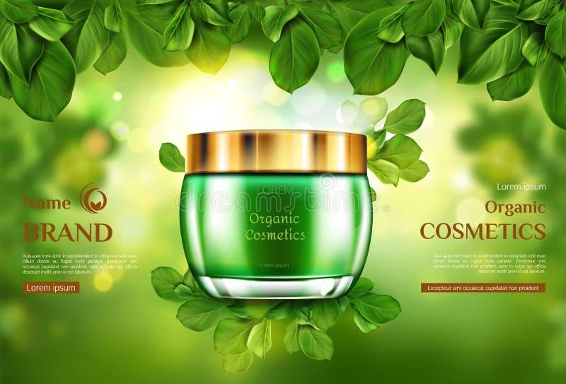 Crema cosmetica organica dello skincare del modello del barattolo del prodotto illustrazione di stock