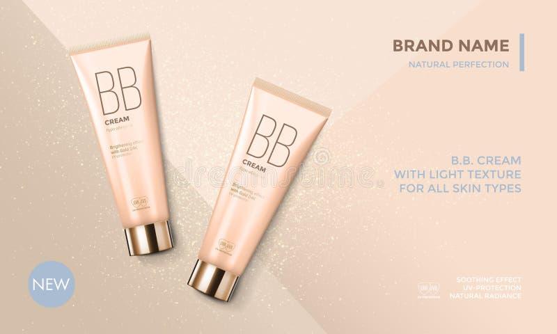 Crema de cara cosmética del BB de la plantilla del vector de la publicidad del paquete libre illustration