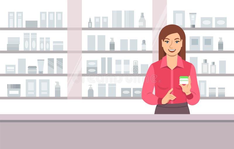 Crema de cara de ofrecimiento del vendedor cosmético en tienda de belleza stock de ilustración