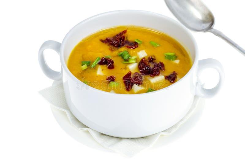 Crema de la sopa de verduras con los tomates y las cebollas verdes secados fotos de archivo