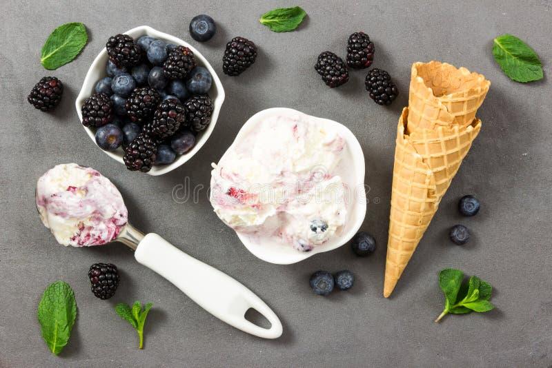 Crema del gelato alla frutta con la creatina fresca della mora e del mirtillo e del ghiaccio fotografia stock libera da diritti