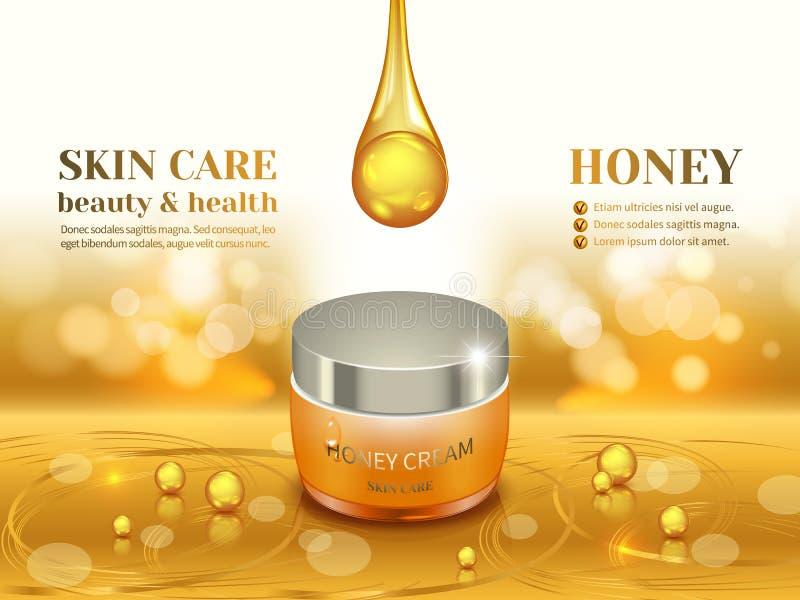 Crema del miele di bellezza illustrazione vettoriale