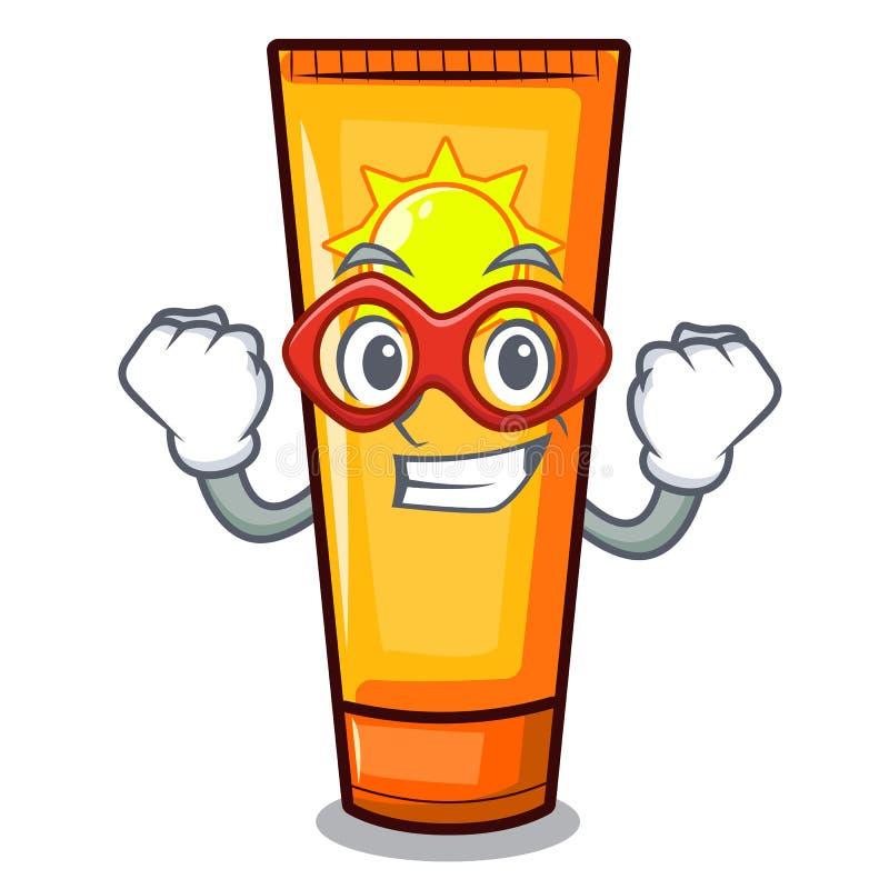 Crema del sole dell'eroe eccellente isolata nel carattere illustrazione di stock