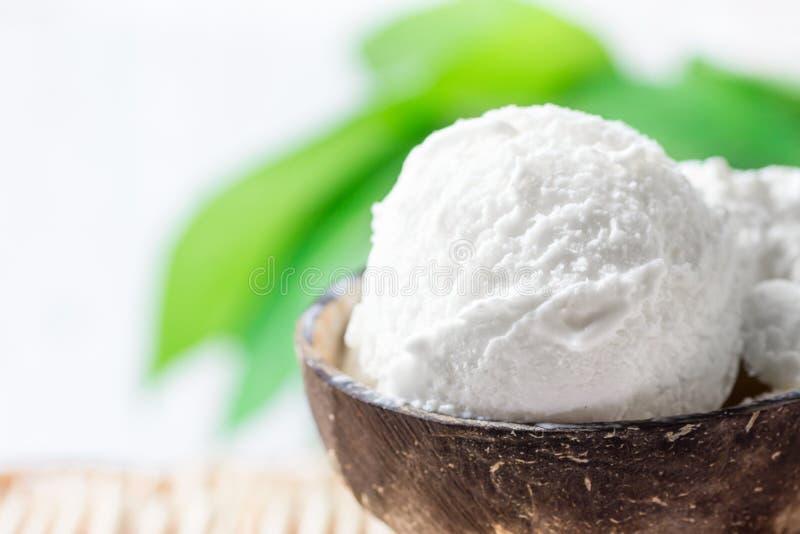 Crema deliziosa del gelato al cocco del vegano in ciotola sulla Tabella di vimini Fondo verde delle piante tropicali delle foglie immagini stock libere da diritti