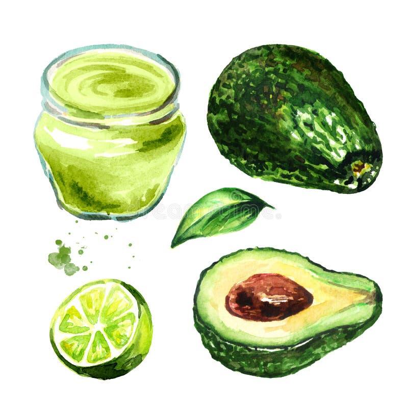 Crema dell'avocado con l'insieme di elementi della calce, illustrazione disegnata a mano dell'acquerello, isolata su fondo bianco illustrazione di stock
