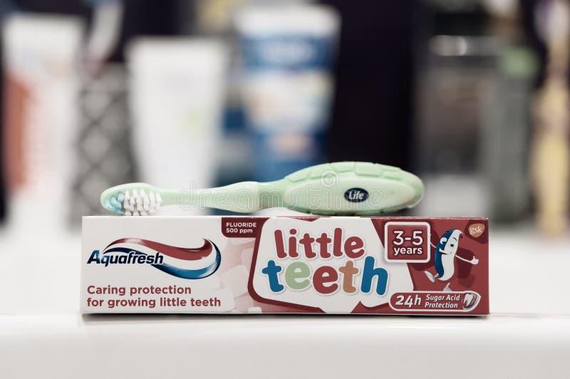 Crema dental y cepillo fotografía de archivo libre de regalías
