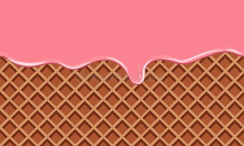 Crema derretida en fondo de la oblea del chocolate Estilo plano del color stock de ilustración