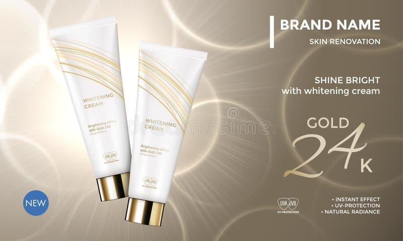 Crema di fronte cosmetica dell'idratante di cura di pelle del modello di vettore di pubblicità del pacchetto illustrazione di stock