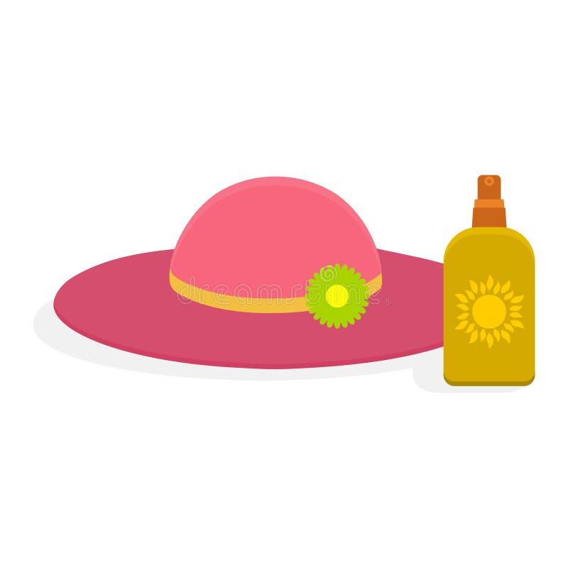 Crema di Sunblock con il vettore del cappello royalty illustrazione gratis