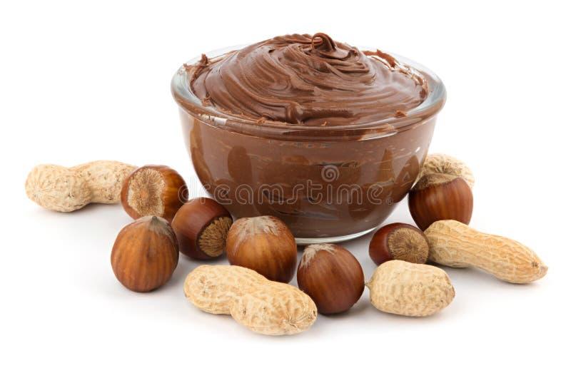 Crema e dadi del cioccolato immagini stock