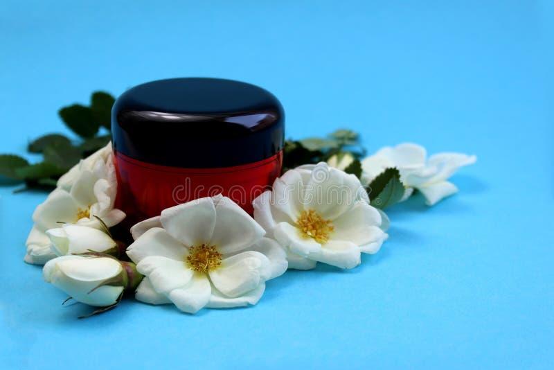 Crema en una botella rodeada por las flores blancas de la rosa salvaje fotografía de archivo libre de regalías
