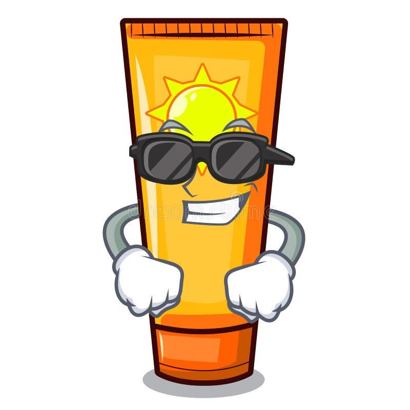 Crema fresca eccellente del sole isolata nel carattere illustrazione vettoriale