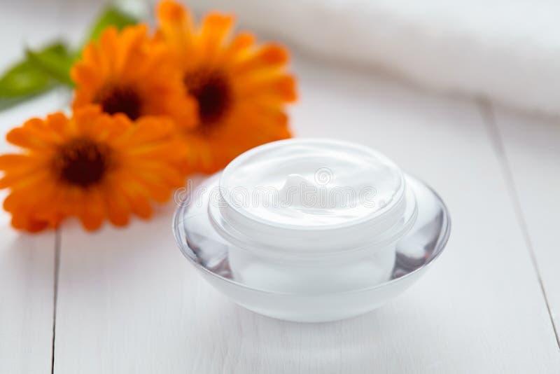 Crema hidratante orgánica de la arruga de la hierba de la crema del calendula del balneario anti cosmético de la vitamina imágenes de archivo libres de regalías