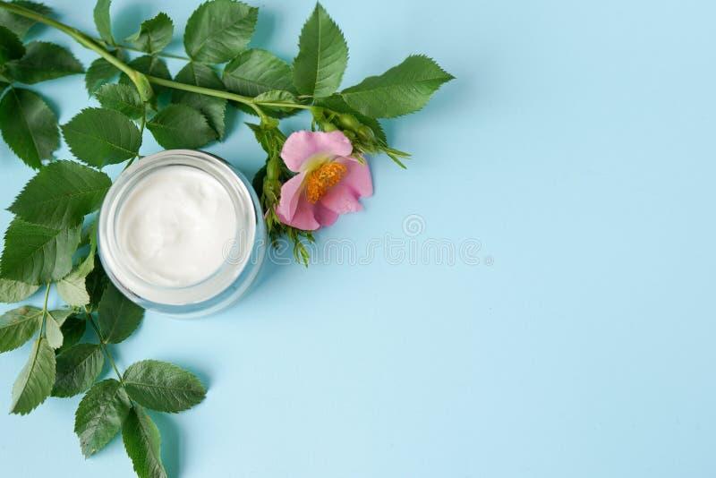 Crema higiénica cosmética herbaria, con la flor rosada producto del skincare en el tarro de cristal en espacio azul de la copia d fotografía de archivo libre de regalías