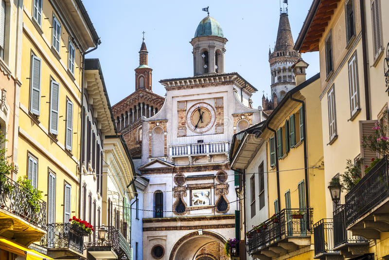 Crema (Italy). Crema (Cremona, Lombardy, Italy): historic buildings with the cathedral royalty free stock image