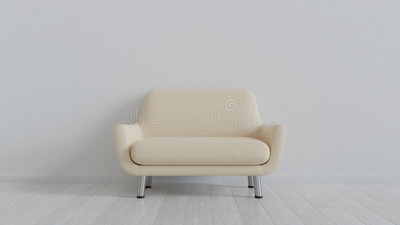 Crema leather sofa in white room. Metal legs. Crema floor. Crema white wall royalty free stock image