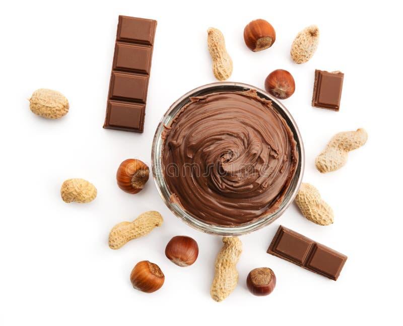 Crema matto del cioccolato ed i suoi ingredienti immagine stock libera da diritti