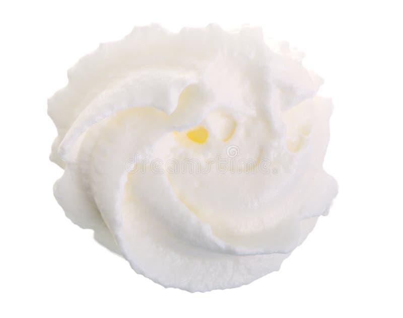 Crema o merengue azotada aislado en el fondo blanco Visión superior Endecha plana fotografía de archivo libre de regalías