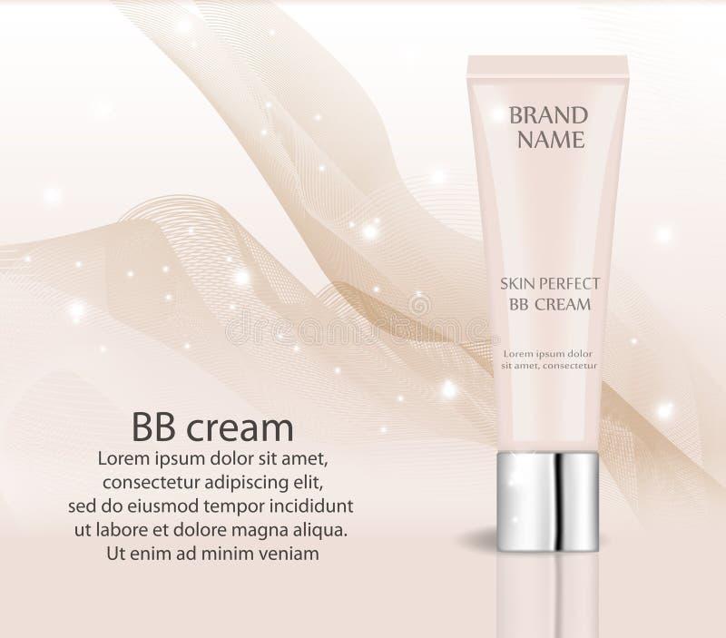 Crema realista del BB, plantilla del diseño de la fundación para los cosméticos Maquillaje, concepto limpio de la piel tubo 3d de ilustración del vector