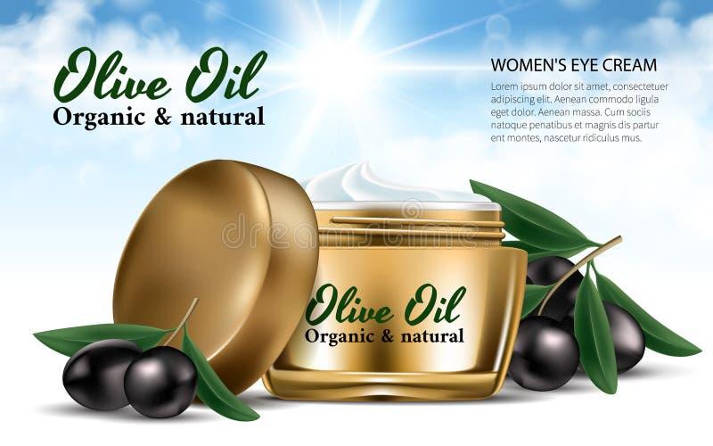 Crema realista del tarro de las mujeres del oro para la cara Olive Oil Aceitunas negras de la rama Fondo del deslumbramiento de l ilustración del vector
