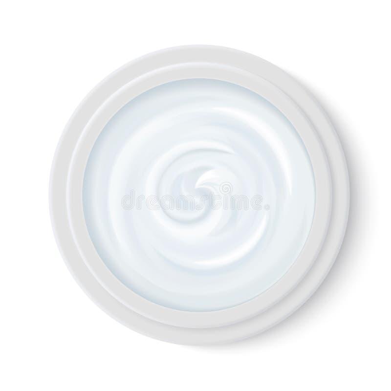 Crema realistica blu-chiaro dei cosmetici nella vista superiore del contenitore del pacchetto Prodotto cosmetico per cura di pell royalty illustrazione gratis